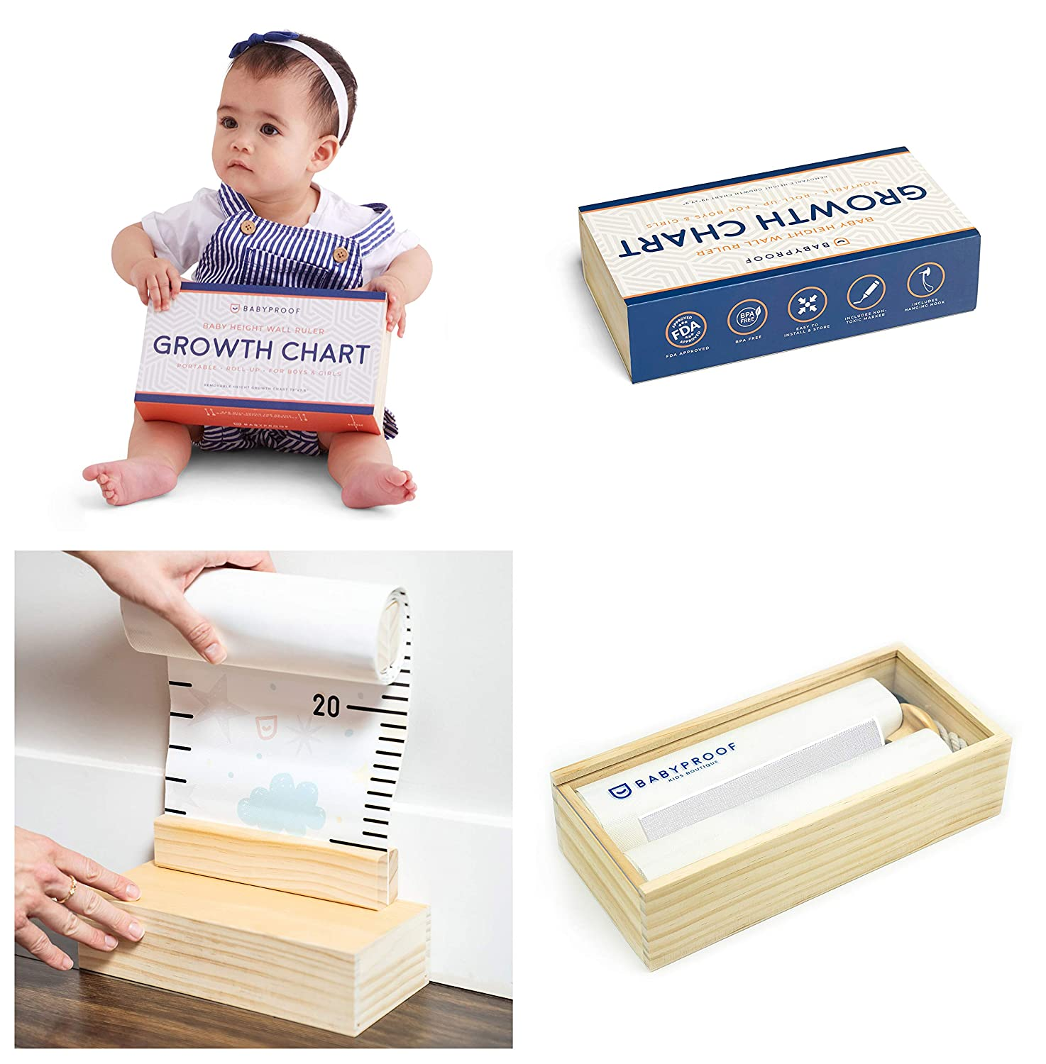 Buy Growth Chart for Kids by Baby Proof   Measuring Height Chart ...