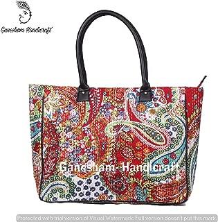 Indian Handmade Bohemian Paisley Beach Bags Hippe Top-Handle Cotton Handbag Boho Hobo Tote Bag Simple Purse Fashion Designer Bags Indian Bags Messenger Bag Floral Shopping Bag Kantha Bags for Girls
