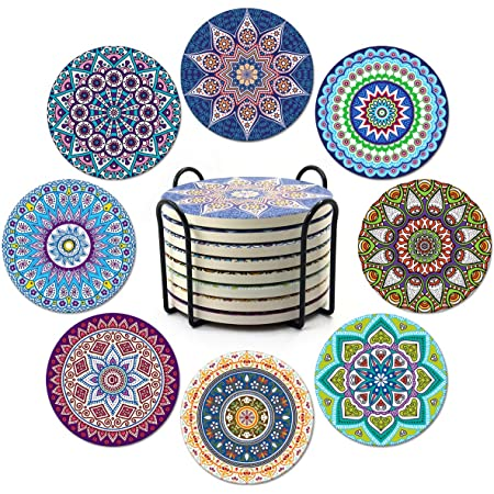 AODINI Coasters for Drinks Gift for Housewarming Birthday and Family Mandala Ceramic Coasters with Cork Base Great Home and Dining Room Decor Set of 8 Absorbent Stone Coasters for Wooden Table