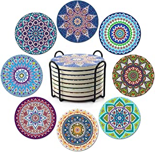 Coasters for Drinks,Absorbent Ceramic Stone with Cork Backing Mandala Style Coaster, Suitable for Kinds of Cups and Mugs,P...