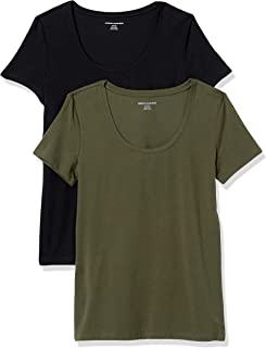 Amazon Essentials Damen fashion-t-shirts 2-pack Classic-fit Short-sleeve Scoopneck T-shirt, ,