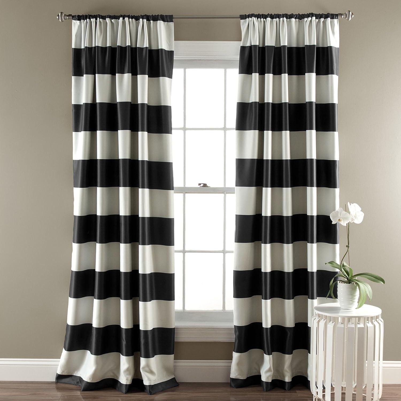 "Lush Decor, Black Stripe Blackout Curtains | Room Darkening Window Panel Set (Pair), 84"" x 52"