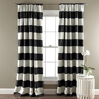 Lush Decor, Black Stripe Blackout Curtains   Room...