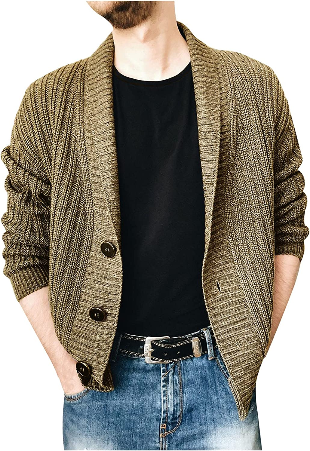 XXBR Knit Cardigan Sweater for Mens, Fall Winter Lapel Single-breasted Button Coat Open Front Casual Slim Outerwear