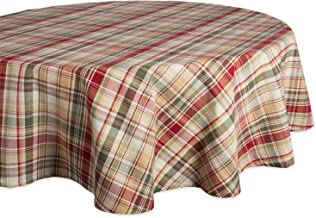 """Cabin Plaid Tablecloth, 100% Cotton with 1/2"""" Hem (70"""" Round - Seats 4 to 6)"""