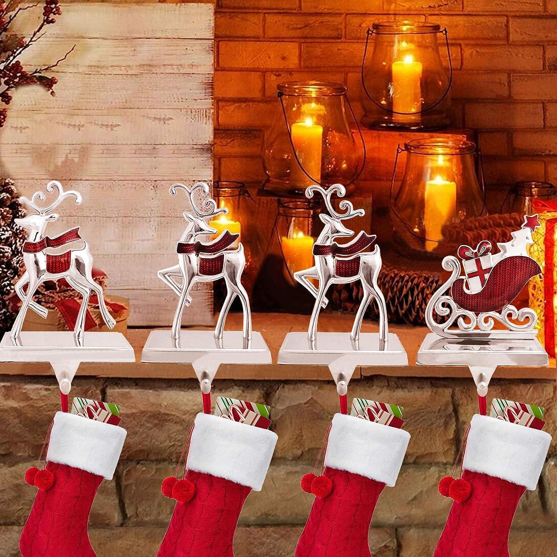 NaTursou Christmas Gold Reindeer Metal Stocking Hanger Fireplace Stocking Hanger Holiday Christmas Decorations for Fireplace Holder Decor