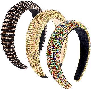 PHALIN 3PCS Padded Rhinestone Headbands Baroque Crystal Embellished Hairbands Bejewelled Headbands Beaded Wide Velvet Hair...