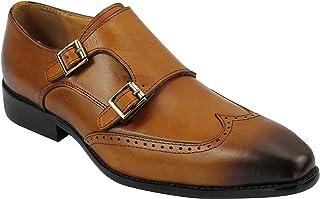 Xposed Marron Noir Hommes Marron réel en Cuir Double Monk Bracelet Intelligent Chaussures Richelieux Formelle 6 7 8 9 10 11