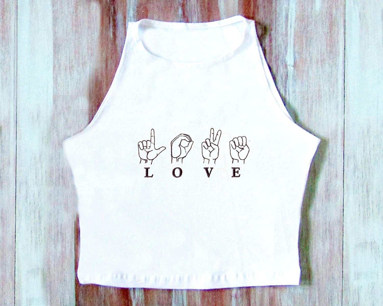 Love outlet Sign Crop Top-Hipster Top-Festival Top Virginia Beach Mall