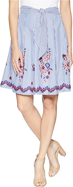 Embroidered Seersucker Skirt with Detailing