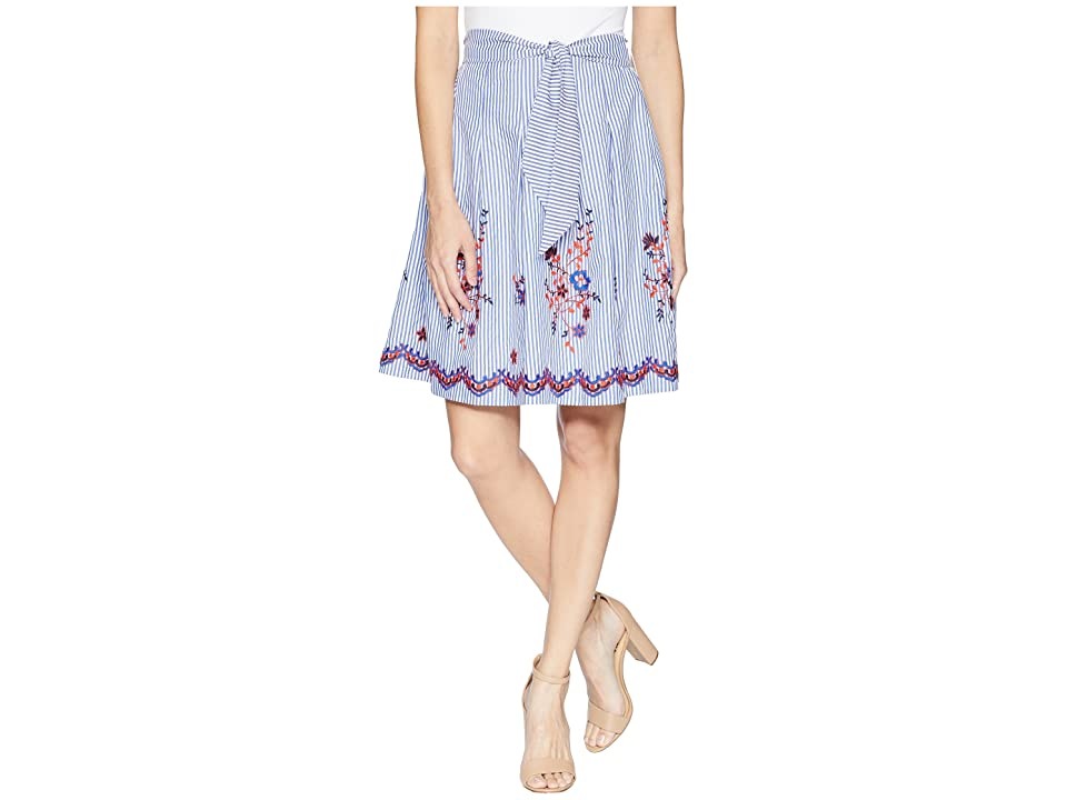 Nine West Embroidered Seersucker Skirt with Detailing (Chambray Multi) Women