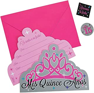 Mis Quince Anos Invitations (8 pc) for Birthday - Party Supplies - Licensed Tableware - Licensed Invitations - Birthday - 8 Pieces