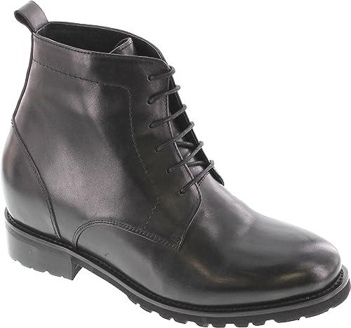 Calto T5205-3.3 Pulgadas más Alto, zapatos elevadores de Altura más Alta, botas de Tobillo con Cordones negros