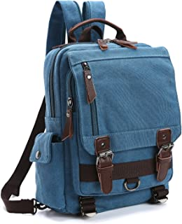 Unisex Lightweight Multi Pockets Canvas Small Day Bag School Backpack Vintage Travel Hiking Rucksack for Men/Women Daypack
