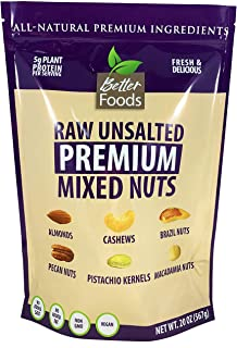 Raw Unsalted Premium Mixed Nuts (Almonds, Brazil Nuts, Cashews, Macadamia Nuts, Pecan Nuts and Pistachios) - Non-GMO Natur...