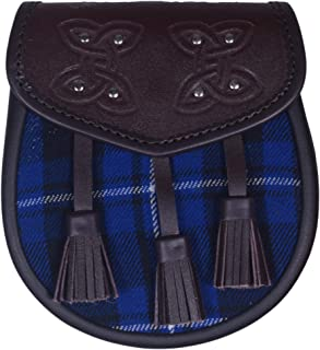 Traditional Style Scottish Semi Dress Leather Sporran With Tartan Front