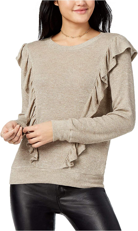 Lily Black Junior's Ruffled MetallicKnit Sweater
