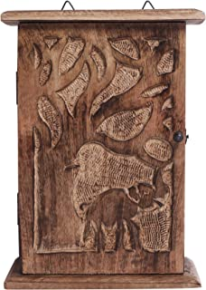 Handmade Wooden Key Holder Cabinet Storage Box with Elephant and Tree Designs
