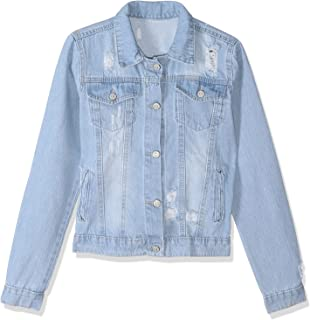 Andiamo Ripped Flap Chest Pocket Long Sleeves Jeans Jacket for Women XXL