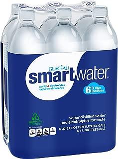 smartwater vapor distilled premium water bottles, 1L, 6 Pack