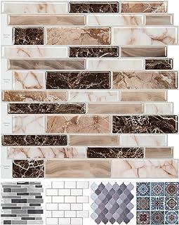 LONGKING Peel and Stick Tile Backsplash for Kitchen, Marble Design (10 Sheets)