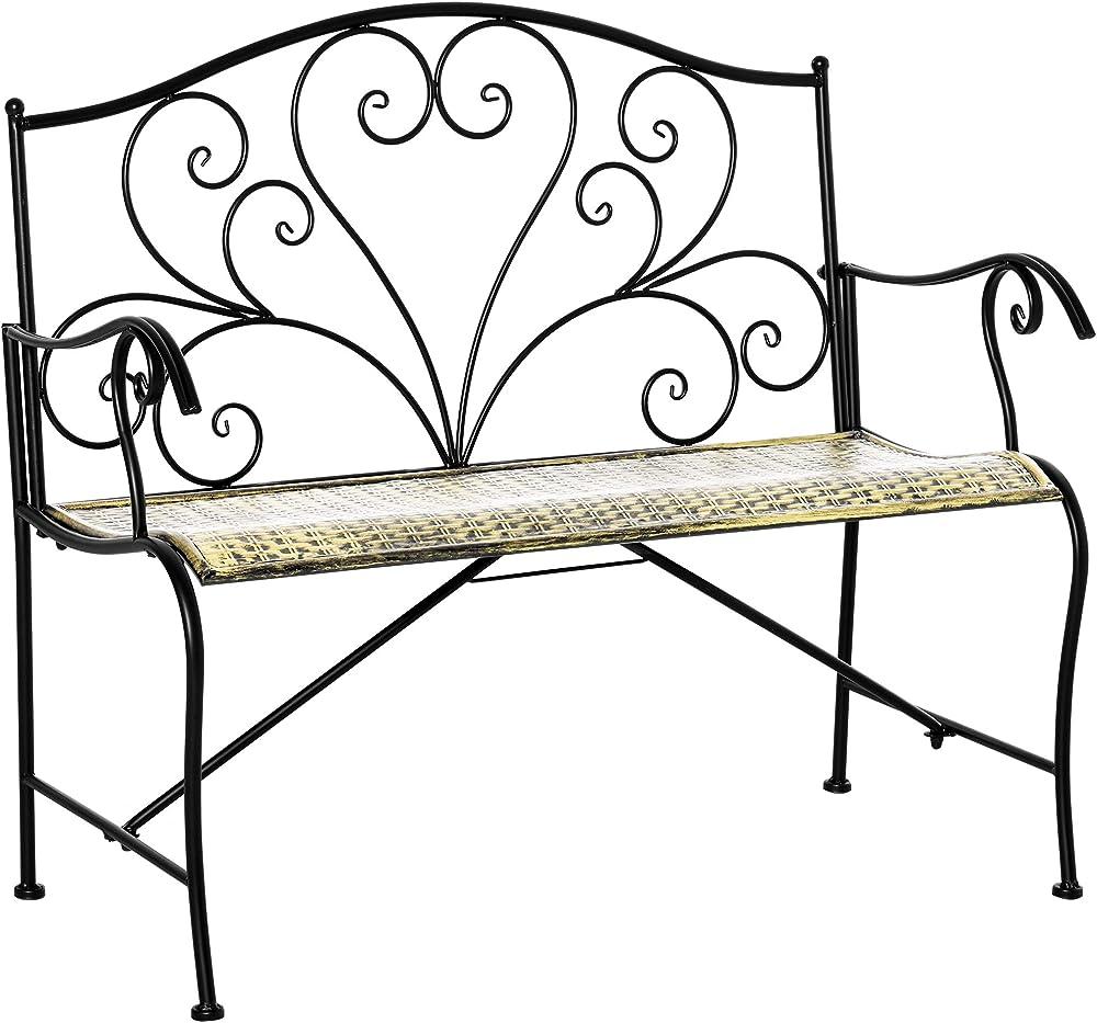 Outsunny panchina da giardino in ferro in stile vintage 2 posti IT84B-4890631