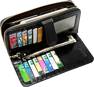 Heshe Women's Long Wallets Money Clips Card Case Holder Large Capacity Purse for Ladies with Wrist Strap (Black)