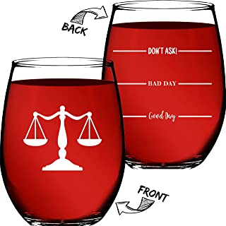 Lawyer Gifts – (2 Sided) Funny Unique Novelty Stemless Wine Glass Birthday or Christmas Gifts For Paralegal, Attorney, Legal Assistant, or Law Student - Lawyer Gifts For Women & Men