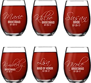 Set of 1, 2, 3, 4, 5, 6, 7, 8 Custom Etched Bride, Bridesmaid Stemless Wine Glasses - Personalized Wedding Party Glass Gifts - Feather Tip Style (6)
