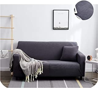 Solid Fabric Flannel Slipcover Elastic Sofa Cover Thick Plaid Stretch All Inclusive Slip Resistant Sectional Sofa 1 2 3 4 Seat,Gray,Single seat Sofa