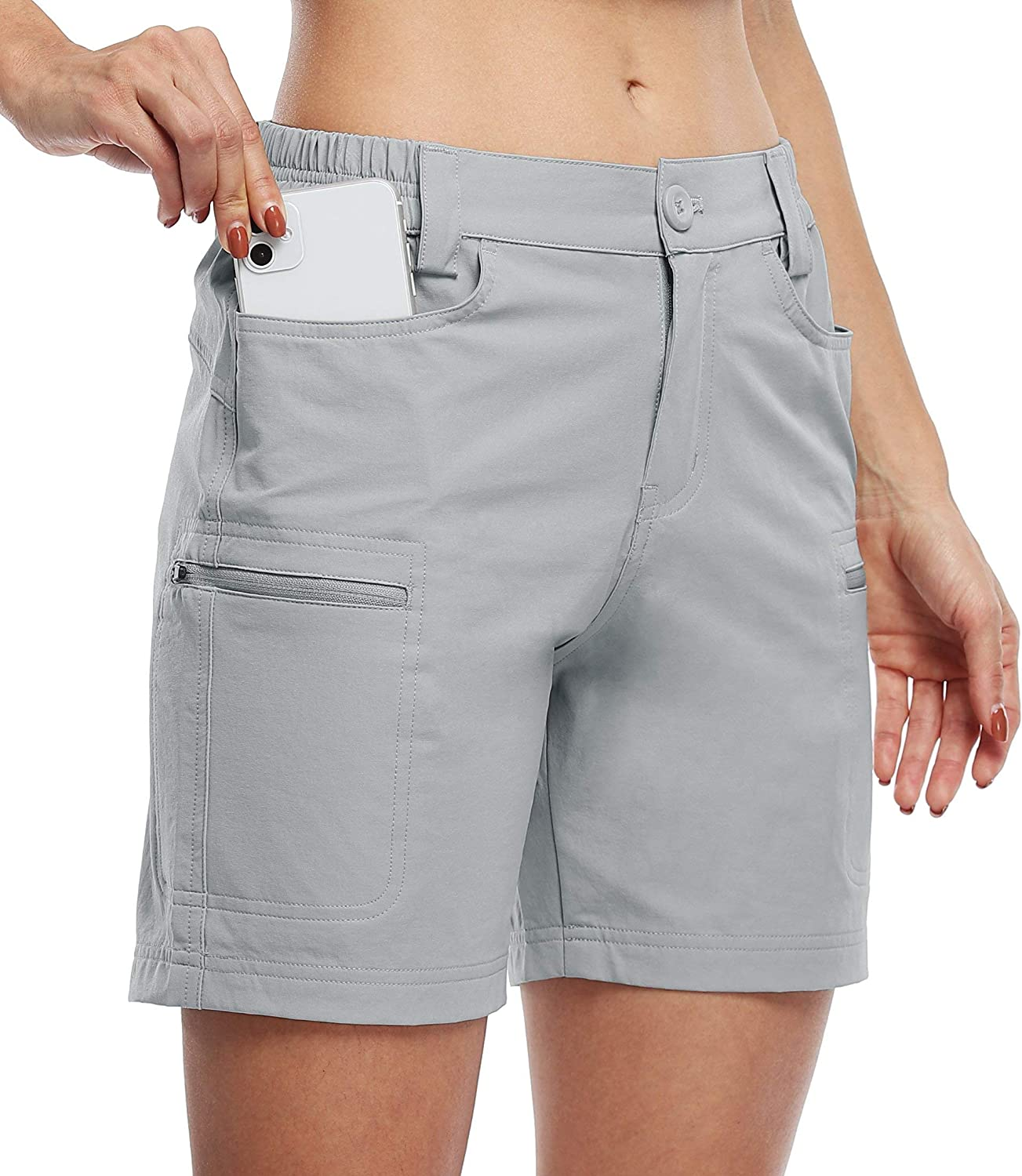 """Willit Women's Hiking Cargo Shorts Stretch Golf Active Shorts Water Resistant Outdoor Summer Shorts with Pockets 5"""" : Clothing"""