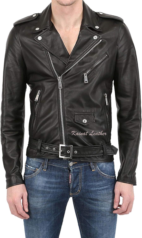 Men's Leather Jacket Motorcycle Bomber Biker Genuine Lambskin Leather 112