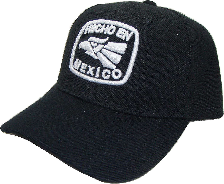 The Hat Shoppe THS Hecho En Mexico Symbol Adjustable Baseball Cap (One Size, Black/White)