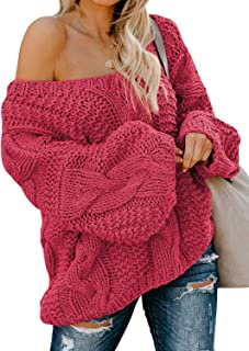Ecrocoo Women`s Off Shoulder Long Sleeve V-Neck Ribbed Cable Pullover Sweaters Loose Fitting Jumper Tops