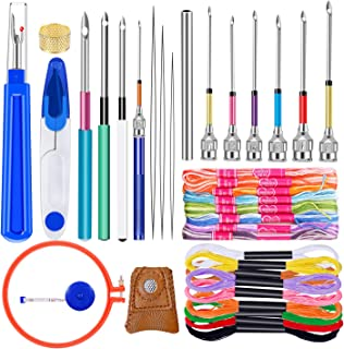 41 Pcs Punch Needle Tool, Embroidery Beginner Kit with 20 Pcs Embroidery Floss, 10 Pcs Embroidery Punch Needle, Needle Threader and Embroidery Hoop for Embroidery Floss Poking Cross Stitching