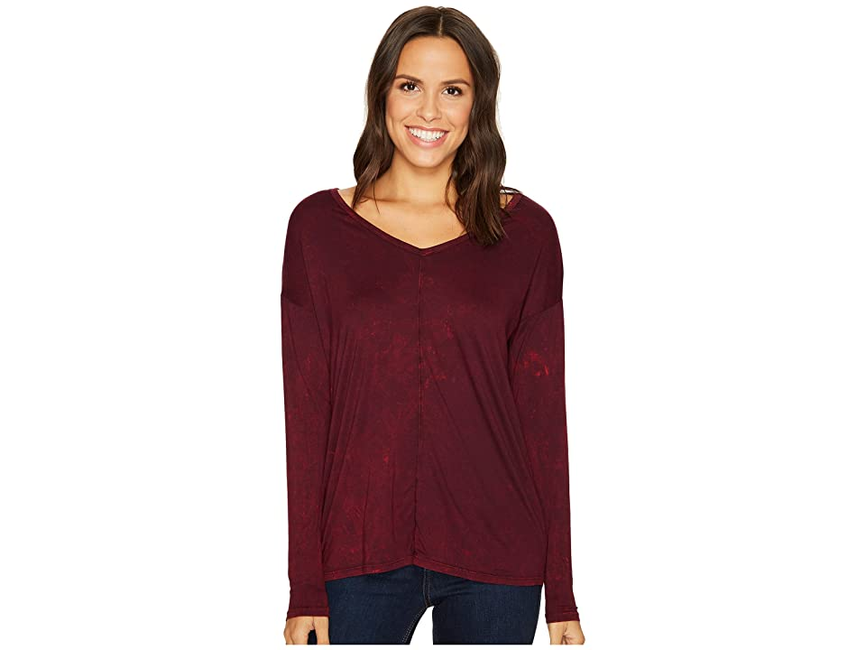 Three Dots Refine Jersey Rocker Wash Drop Sleeve V-Neck Top (Aubergine) Women