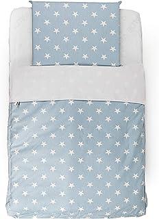 PAMBABY Juego de 4 minicunas de 83 x 50 cm | sábana + funda nórdica + funda de almohada + cojín para cuna Next to Me KinderKraft Cam Chicco Jané (Kit de 4 piezas azul)