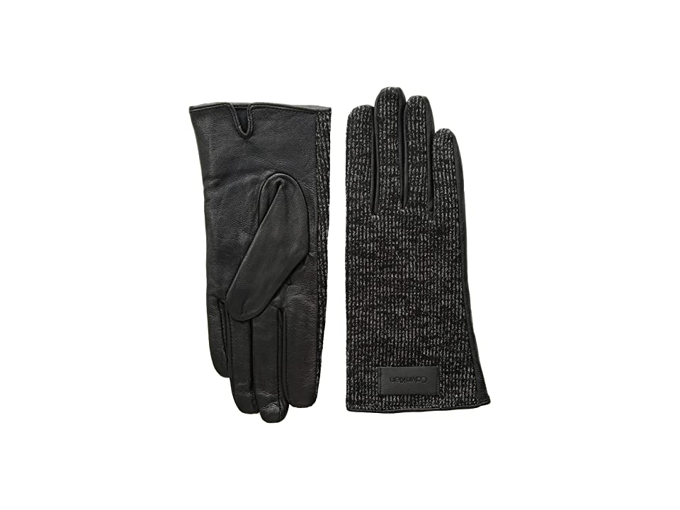 Calvin Klein Knit and Leather Gloves (Heathered Mid Grey) Extreme Cold Weather Gloves