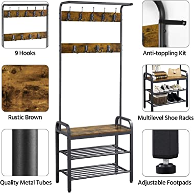 Yaheetech 3-in-1 Hall Tree Coat Rack Shoe Bench with 23 Hooks, Industrial Entryway Coat Rack Storage Shelf, Wood Accent Furni