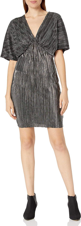 ASTR the label Women's Metallic V Neck Short Sleeve Dolman Mini Dress