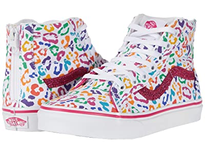 Vans Kids Sk8-Hi Zip (Little Kid) ((Rainbow Leopard) Fuchsia Purple/True White) Girls Shoes