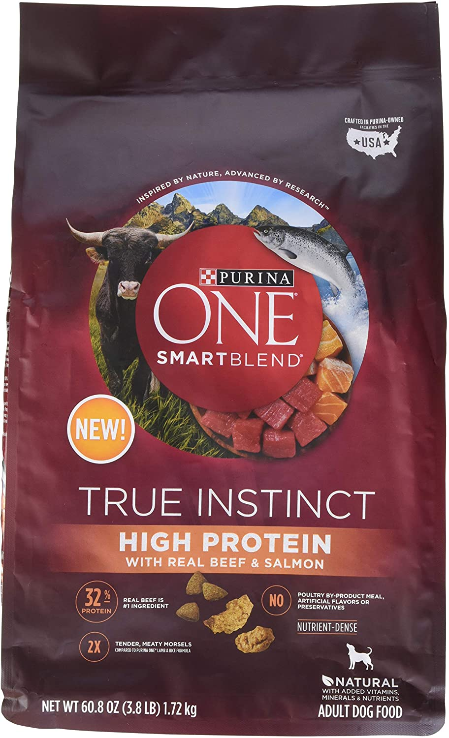Purina ONE Natural, High Protein Dry Dog Food, SmartBlend True Instinct With Real Beef & Salmon, 3.8 lb