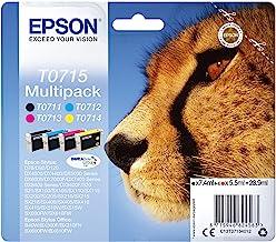Epson Multipack T0715 Guépard, Cartouches d'encre d'origine, 4 couleurs : Noir, Cyan, Magenta, Jaune, D78 D92 D120 DX4000 ...