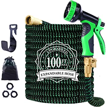 """Expandable Garden Hose, 100ft Leakproof Garden Hose with 10 Functions Nozzle, Flexible Water Hose with Durable 3-Layers Latex Core, 3/4"""" Solid Brass Fittings, Premium 3750D Fabric"""