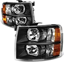 Pair of Black Housing Amber Corner Headlight Assembly Lamps Replacement for Chevy Silverado 1500 2500 3500 07-14