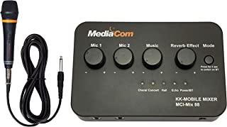 MediaCom Karaoke Anywhere Mixer with Bluetooth 5.0 Connection, 1 Corded Mic and Multiple Revereb Effects