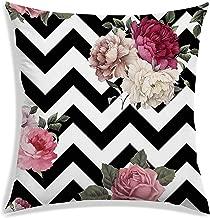 RADANYA Zig-Zag Digitally Printed Satin Decorative Square Throw Pillow/Cushion Cover , 16x16 Inch, Black