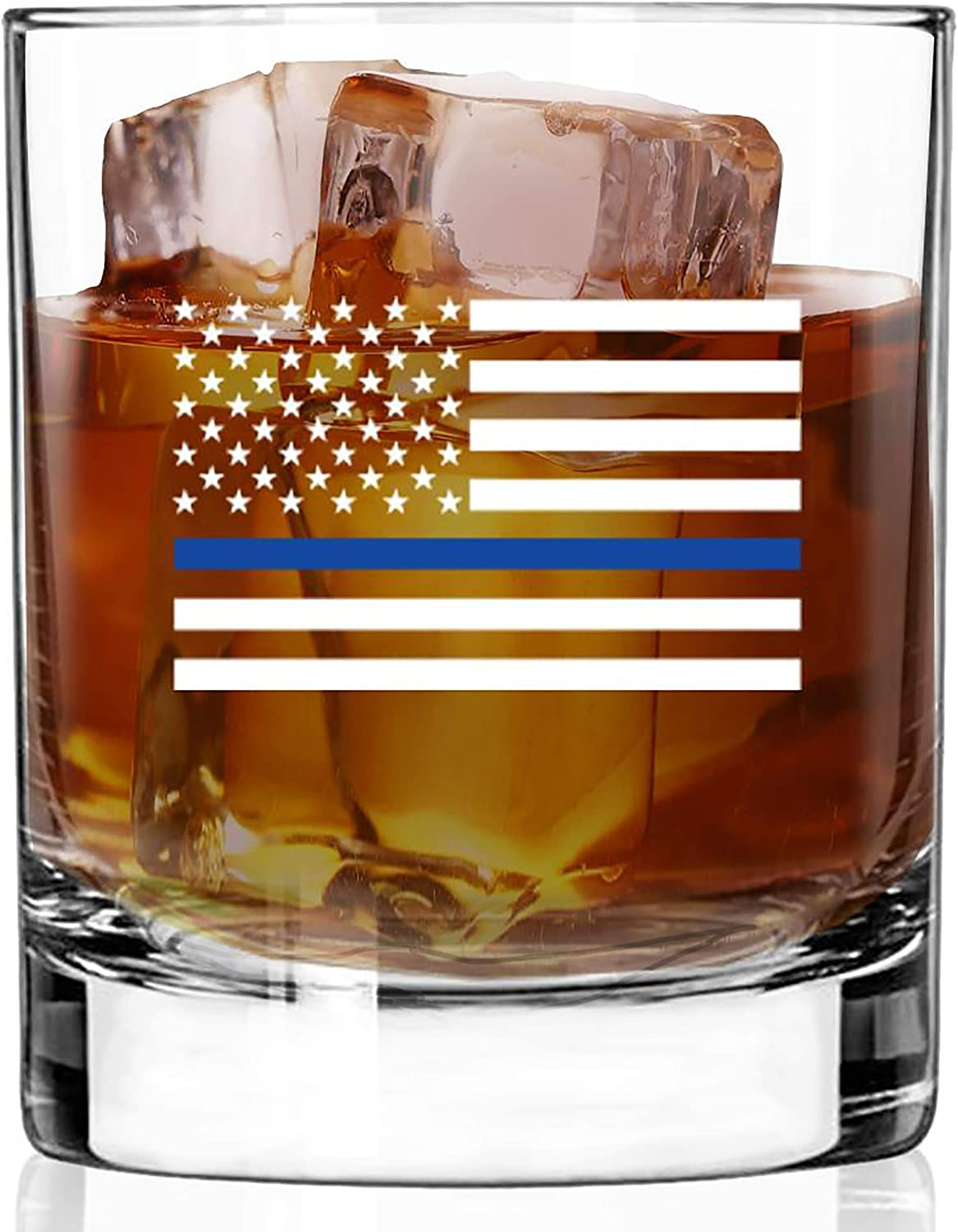 BACK THE BLUE Challenge the lowest price WHISKEY GLASS Ba Weighted Commercial Spasm price Grade Heavy