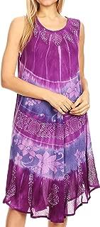 Sakkas Daniella Women's Flowy Tie Dye Relax Caftan Tank Dress Cover up Sleeveless