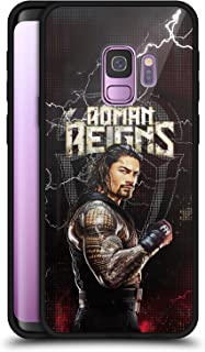 Official WWE Roman Reigns Superstars Black Hybrid Glass Back Case Compatible for Samsung Galaxy S9